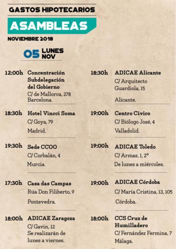 Calendario asambleas informativas 5 noviembre