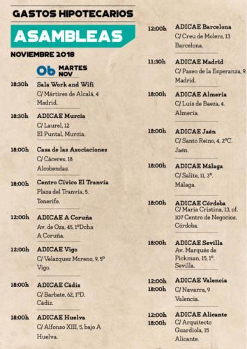 Calendario asambleas informativas 6 noviembre